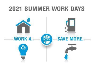 Summer Work Days schedule for 2021